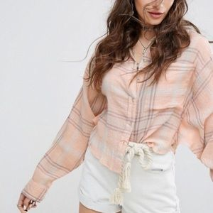 Free People   oversized cropped button up